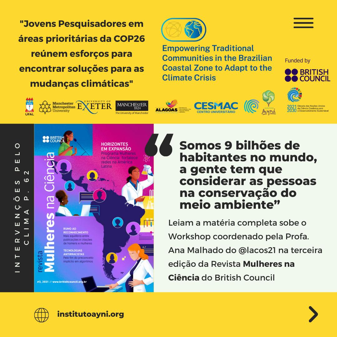 Read more about the article Conheça os projetos dos jovens pesquisadores que  buscam soluções para as mudanças climáticas junto às comunidades tradicionais da zona costeira brasileira